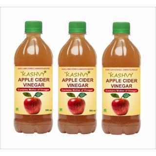 Kashvy Apple Cider Vinegar with Mother of Vinegar - Pack of 3 (500 ml each)