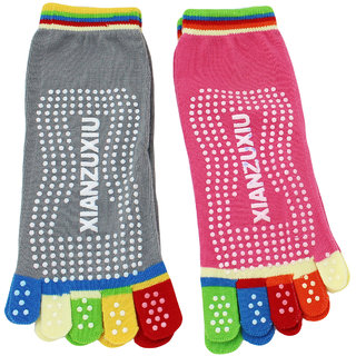Neska Moda Premium Women 2 Pairs Cotton Ankle Length Five Finger Anti Slip Toe Socks  Grey  Pink S830