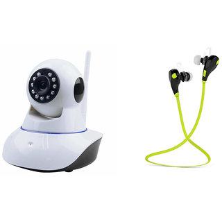 Zemini Wifi CCTV Camera and Jogger Bluetooth Headset for MOTOROLA moto g (gen 2) (Wifi CCTV Camera with night vision |Jogger Bluetooth Headset With Mic )