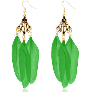 JewelMaze Gold Plated Green Feather Earrings