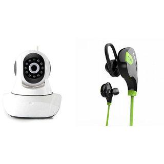 Zemini Wifi CCTV Camera and Jogger Bluetooth Headset for PANASONIC P11(Wifi CCTV Camera with night vision |Jogger Bluetooth Headset With Mic )