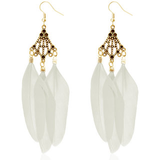 JewelMaze Gold Plated White Feather Earrings