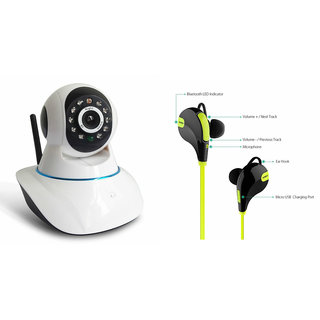 Zemini Wifi CCTV Camera and Jogger Bluetooth Headset for GIONEE PIONEER P5W(Wifi CCTV Camera with night vision |Jogger Bluetooth Headset With Mic )