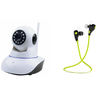 Zemini Wifi CCTV Camera and Jogger Bluetooth Headset for MICROMAX CANVAS 5(Wifi CCTV Camera with night vision  Jogger Bluetooth Headset With Mic )