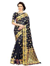 CRAZYDDEAL Black Banarasi Silk woven design Traditional Saree