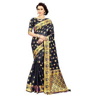 CRAZYDDEAL Black Banarasi Silk woven design Traditional Saree