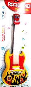 ROCKBAND Plastic Musial  Light Guitar (White and Red, 39 cm x 4 cm x 15 cm)
