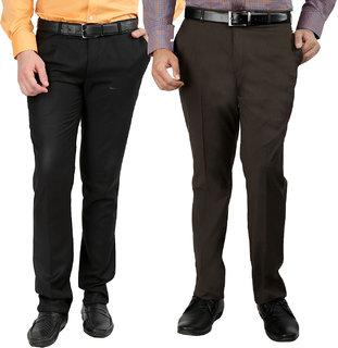Gwalior Pack Of 2 Slim Fit Formal Trousers (Black  Brown)