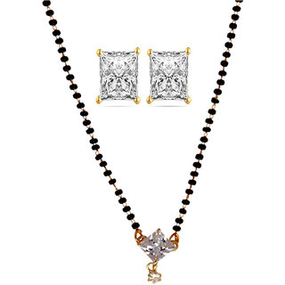 Chrishan Gold Plated Marvelous Fashionable Mangalsutra And Earring Combo Set For Women.