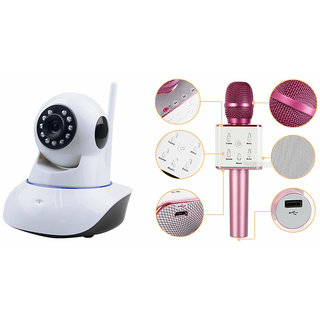 Zemini Wifi CCTV Camera and Q7 Microphone Karake With Bluetooth Speaker for MICROMAX BOLT D320(Wifi CCTV Camera with night vision |Q7 Microphone Karake With Bluetooth Speaker)