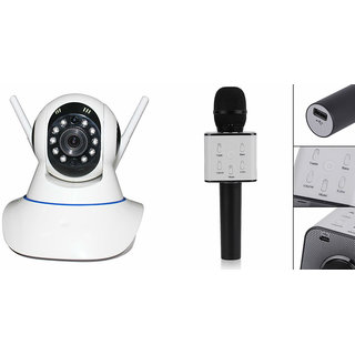 Zemini Wifi CCTV Camera and Q7 Microphone Karake With Bluetooth Speaker for SAMSUNG GALAXY A8(Wifi CCTV Camera with night vision  Q7 Microphone Karake With Bluetooth Speaker)