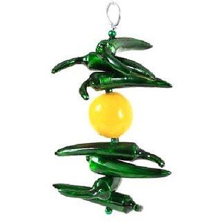 Green & Yellow Color Metal Nimbu Mirchi Car/ Home Door Hanging Decor ( 19 X 8 X 3 cm , No of Pieces 1 ) By Fashion Bizz