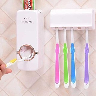 Original beauty Automatic Toothpaste Dispenser And Tooth Brush Holder Set Random Color