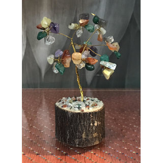 Maisha ( 5 X 3.5 ) Feng Shui Natural Multi color Healing Gemstone Crystal Bonsai Fortune Tree