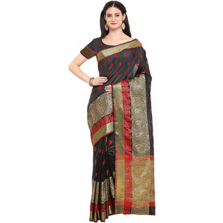 0f75c4dce1 Buy Varkala Silk Sarees Black Art Silk Banarasi Saree with Blouse ...