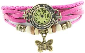 Light Pink Leather Bracelet Vintage Butterfly Women Wrist Watch BY MORLI