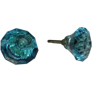 Jagdish Articals Blue Color Glass Handle Knob Set of 6