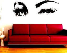 Beautiful Lady Eyes Big Eye Lashes Wink Decor Wall Mural Dark Brown Vinyl Decal Sticker OS 03