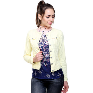 MansiCollections Yellow Corduroy Jacket for Women