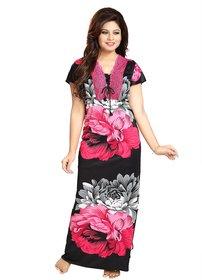 Diljeet Women's Satin Nighty-(Pink)-Floral Designer print