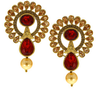 Anuradha Art Red Colour Very Cly Trendy Designer Traditional Earrings For Women S