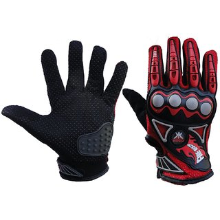 Kobo Probiker Imported Mesh Fabric Fire Roller Motorcycle Gloves (Red Medium)
