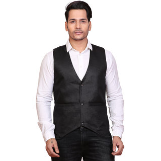Conway Jute Black Stylist Waistcoat For Mens