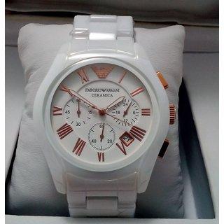 Swiss Made Emporio Armani Men's Ceramic White Chronograph Dial Watch