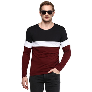 PAUSE Multi Solid Cotton Round Neck Slim Fit Long Sleeve Men's T-Shirt