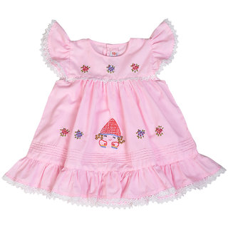 Red Roses Girls Pink Frock