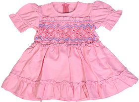 Red Roses Girls Pink Frock with Balloon Sleeves