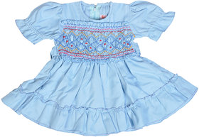 Red Roses Girls Blue Frock with Balloon Sleeves