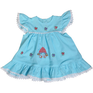 Red Roses Girls Blue Frock