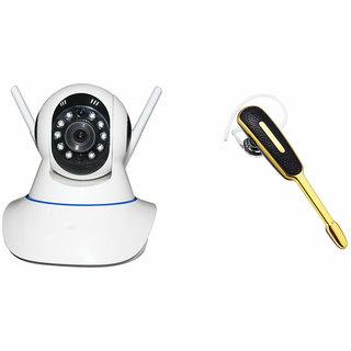 Zemini Wifi CCTV Camera and HM 1000 Bluetooth Headset for XOLO Q600 CLUB(Wifi CCTV Camera with night vision |HM 1000 Bluetooth Headset With Mic )