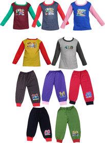 Jisha Fashion Fullsleeves Tshirt and Capri set (RKGPLAIN) (Pack of 5)