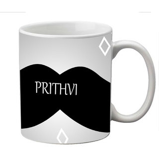 meSleep Moustache Personalized Ceramic Mug for Prithvi
