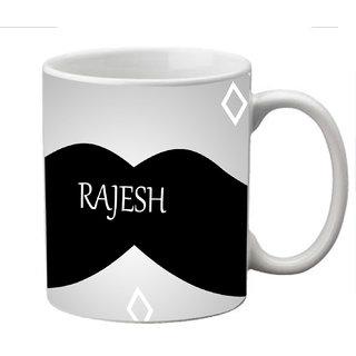 meSleep Moustache Personalized Ceramic Mug for Rajesh