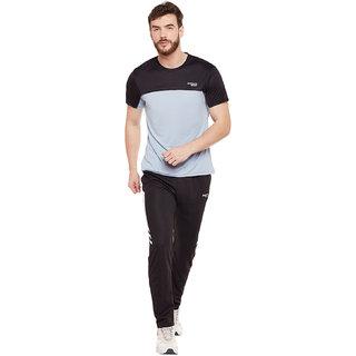 Masch Sports Men Black  Light Grey Colourblocked Rapid Dry Round Neck T-Shirt