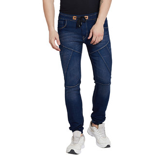 Stylox Premium Men's Stretchable Slim Fit Mid Rise Navy Blue Washed Jogger