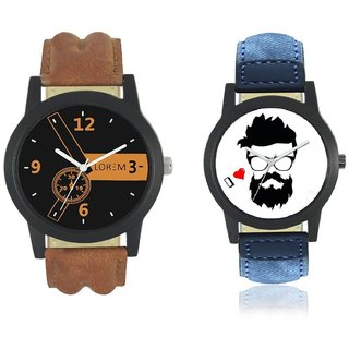 New Brown And Blue Leather Belt Analog Watch For Men Combo Pack Of 2 Watch