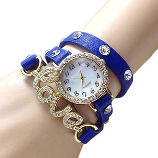 Blue Exclusive Love Belt diamond studded prisiouse collaction love bracelet for valantine Analog Watch - For Girls