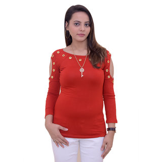 f0338e5c77fffe Buy Funsies women solid cold shoulder top with neck piece Online ...