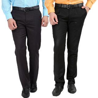 Gwalior Pack Of 2 Slim Fit Formal Trousers (Black  Grey)