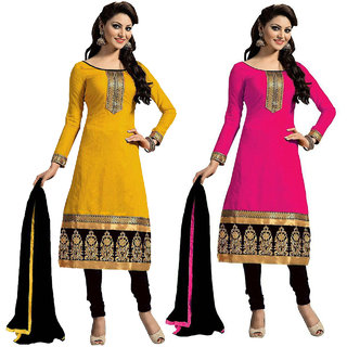 Beelee Typs Combo Yellow-Pink Cotton Unstitched Dress Material