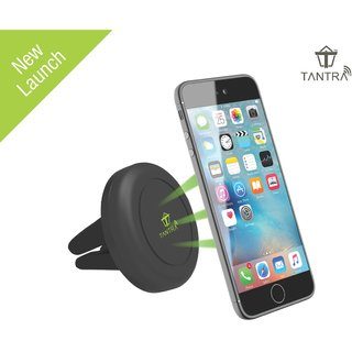 Tantra TRICK Universal Smart Mobile Phone Holder Magnetic Car Mount Air Vent Holder with 2 Metal Plates for iPhone