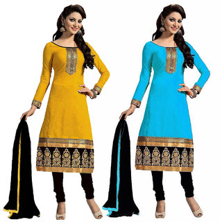 Reevaz Combo Yellow-blue Cotton Unstitched Dress Material