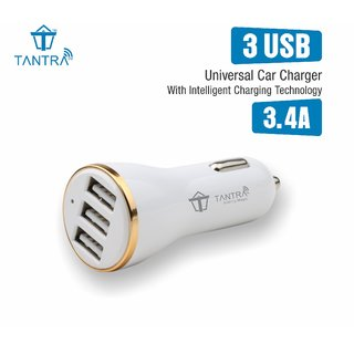 Tantra Car Charger 3.4 Amp Universal 3 USB Intelligent Smart Chip Plug Car Charger with LED Indicator