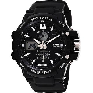 Skmei Dual Time Black Analog With Digital Watch For Men,Boys