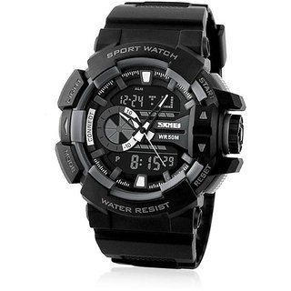 New Skmei Black WR30M Dual Time Analog With Digital Watch For Men ,Boys