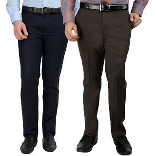 Gwalior Pack Of 2 Slim Fit Formal Trousers (Blue  Brown)